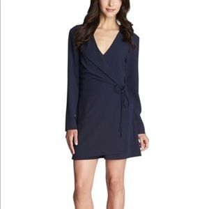 1. State Navy  Blue Long Sleeve Wrap Romper SZ S